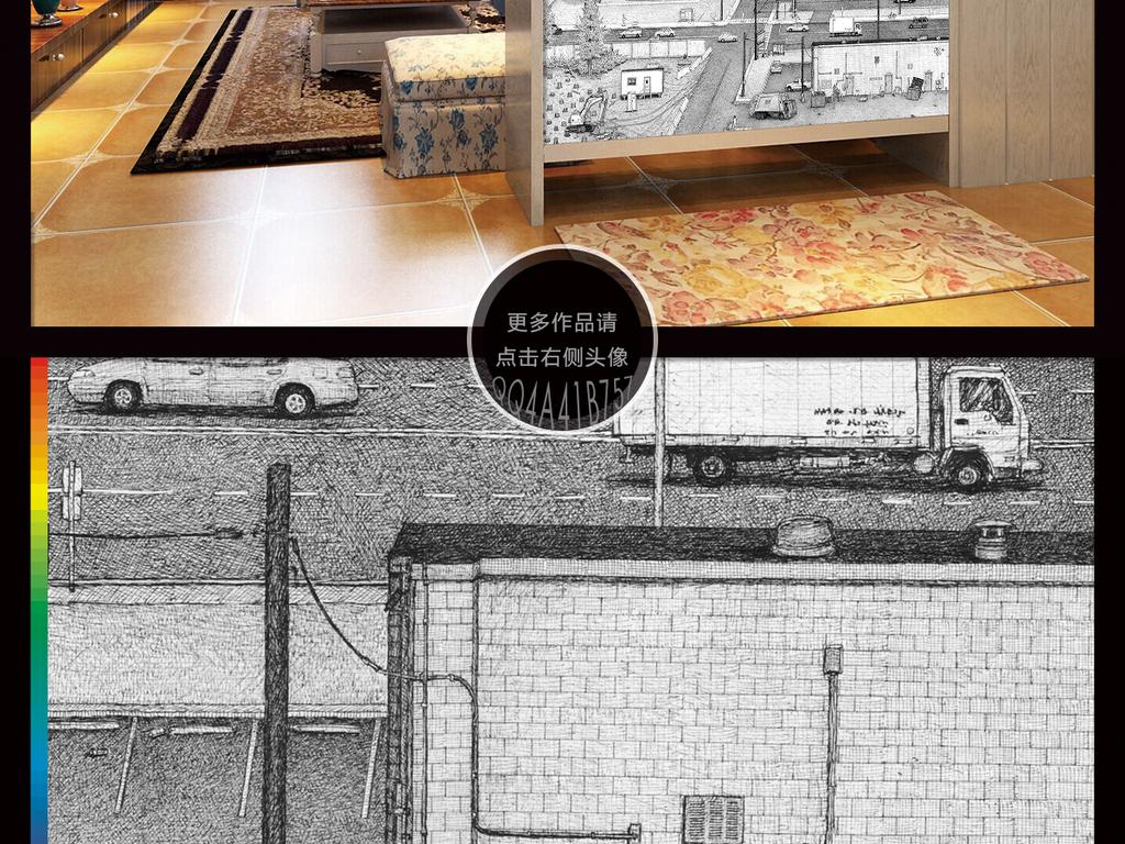 现代简约手绘黑白城市街道插画背景墙