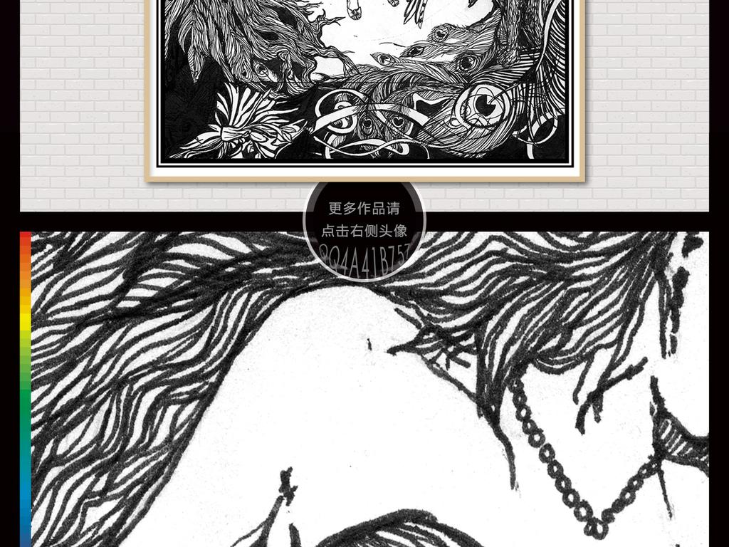 复古欧式手绘装饰人物插画装饰画