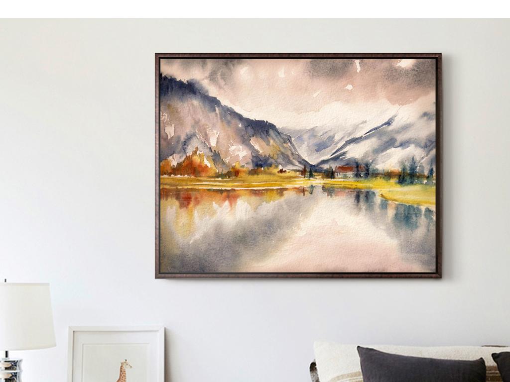 手绘油画风景水墨画湖泊山川靠山