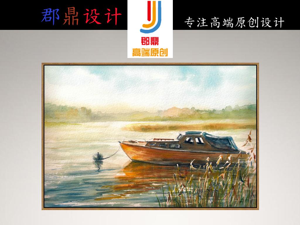 手绘油画湖面小船帆船
