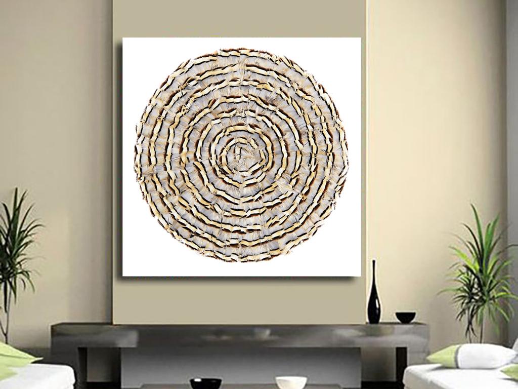 北欧简约创意手绘浅黄色圆圈羽毛装饰画