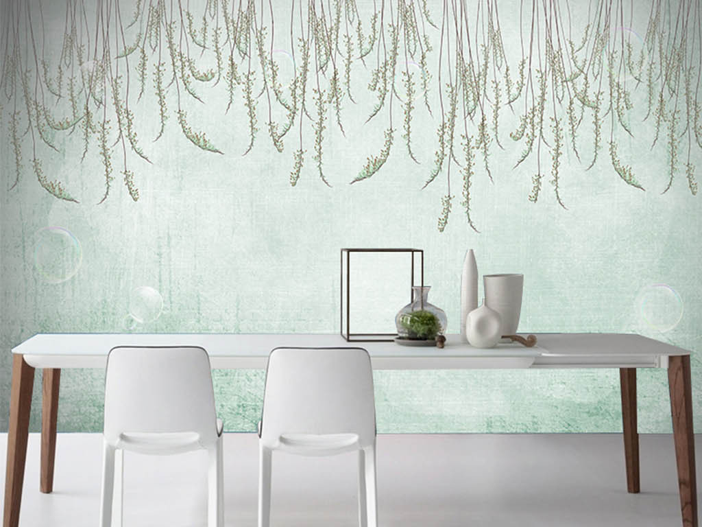 墙纸绿叶手绘背景欧式背景清新背景手绘欧式枝叶手绘