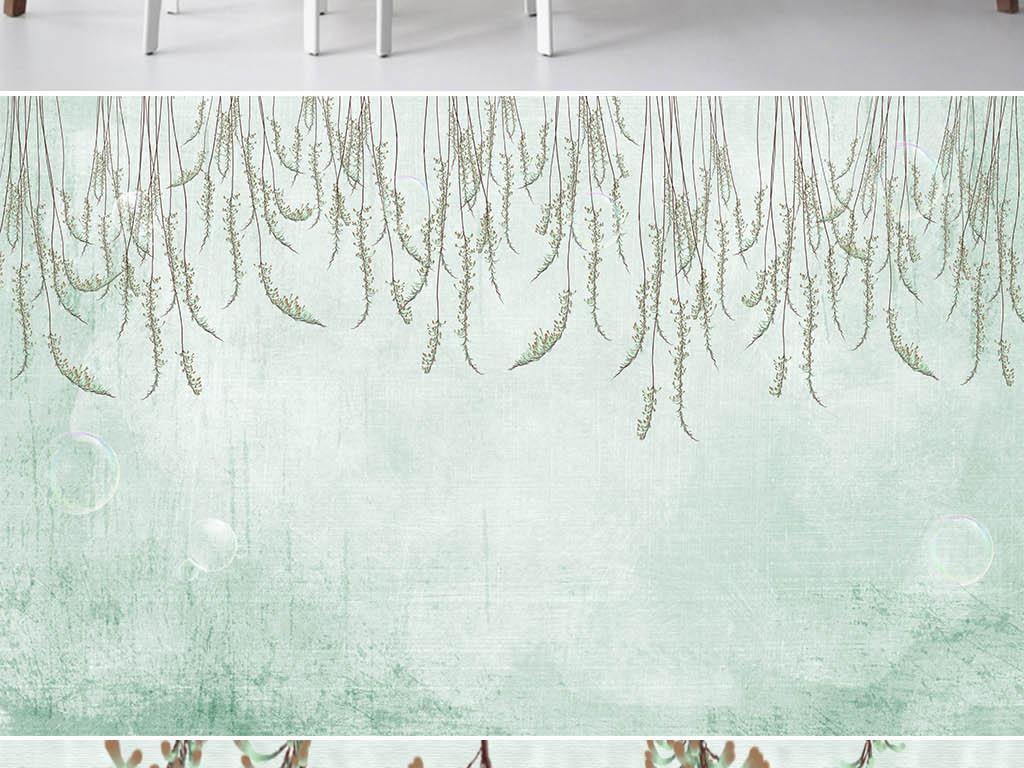 欧式手绘清新枝叶背景墙