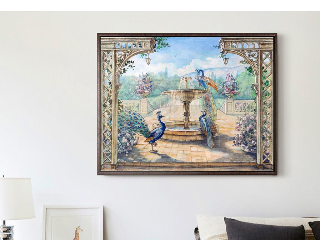 北欧古典中堂壁画孔雀手绘油画风景