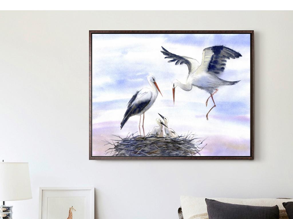 鸟手绘室内装饰画人物装饰画抽象装饰画风景装饰画客厅装饰画黑白装饰