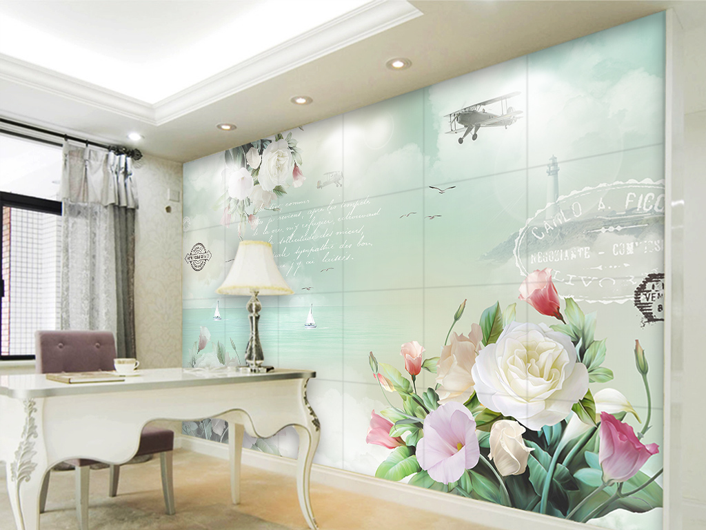 海鸥大海灯塔背景墙壁纸