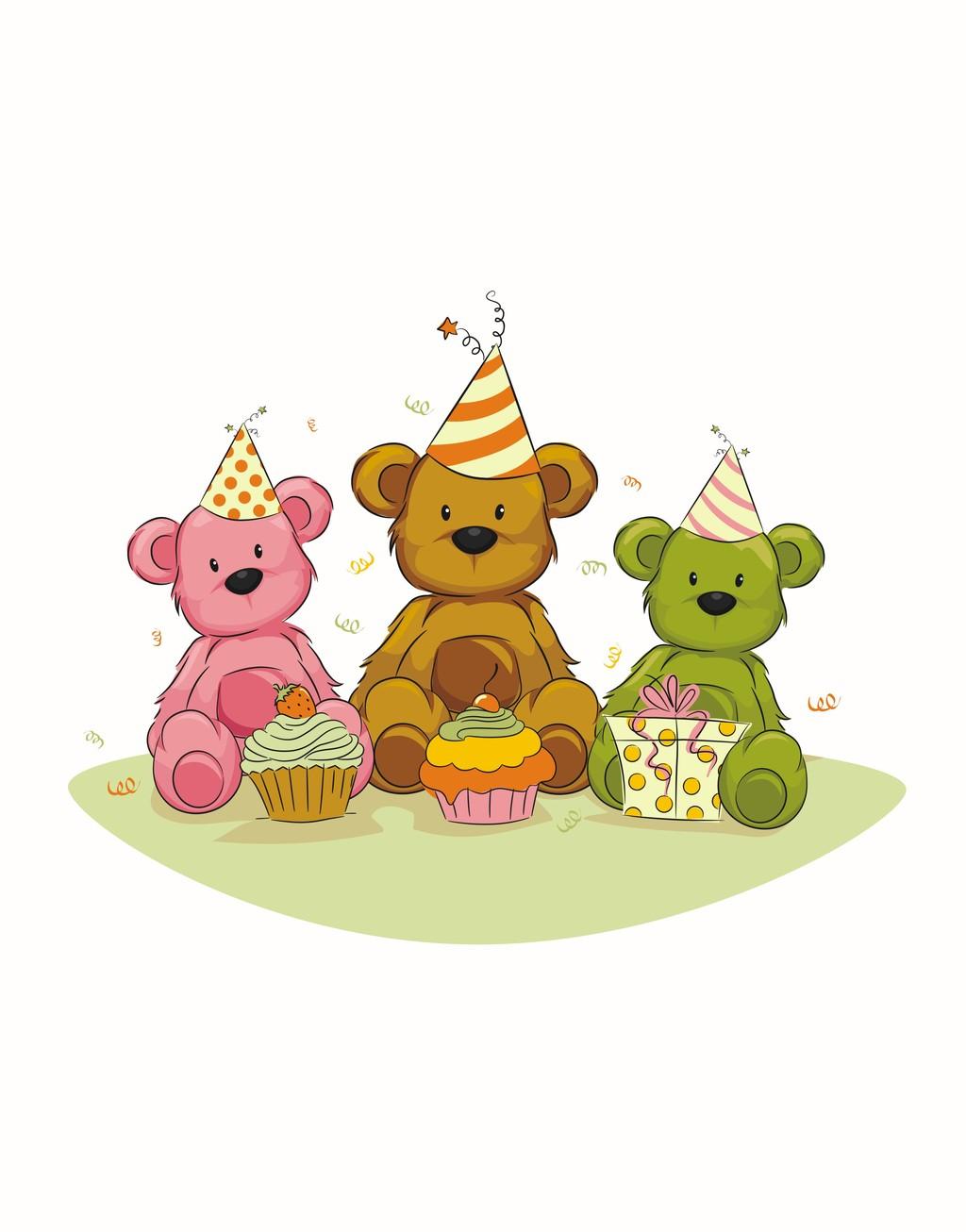 圣诞节元素手绘图案设计插画卡通动物小熊