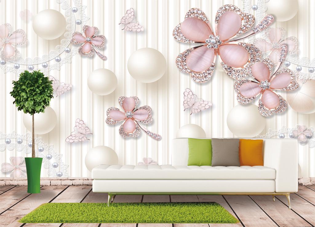 卧室玄关背景墙移门珠花钻石翡翠蝴蝶花朵欧式背景