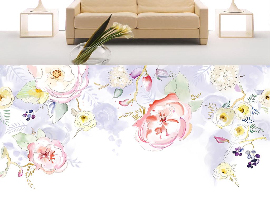 春透花响手绘花卉电视背景墙装饰画