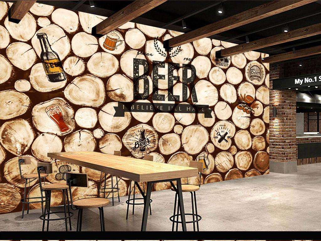 背景墙 装饰画 工装背景墙 酒吧 ktv装饰背景墙 > 复古怀旧圆木咖啡酒图片