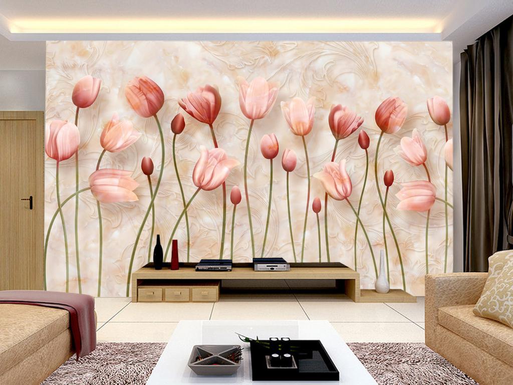 唯美玫瑰花朵玉雕花卉电视背景墙