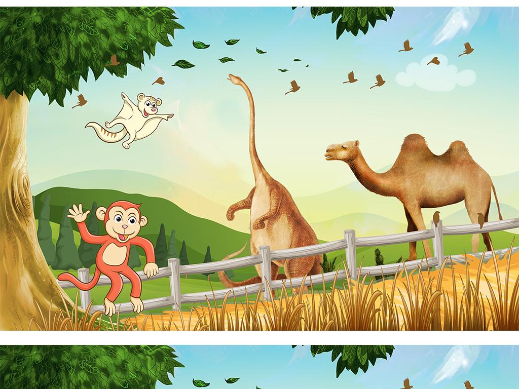 工装背景酒店背景装饰画迪士尼背景迪士尼人物森林鹿大树长颈鹿硅藻泥