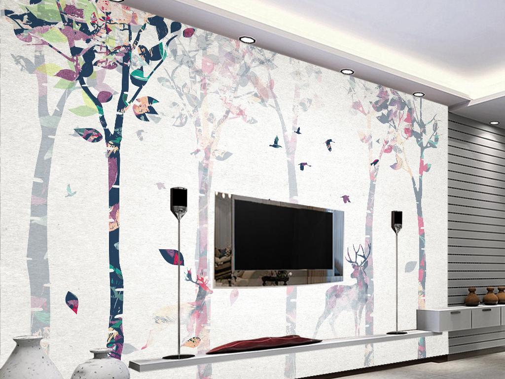 时尚唯美彩绘沙发背景墙装饰画下载图片