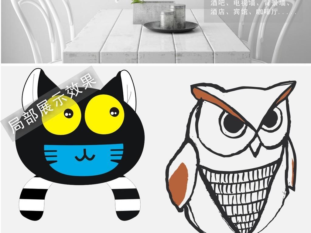 手绘卡通动物猫鹰鹿儿童装饰挂画