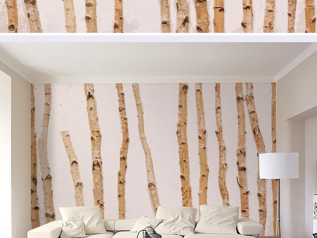 树木纹理北欧家居电视背景墙