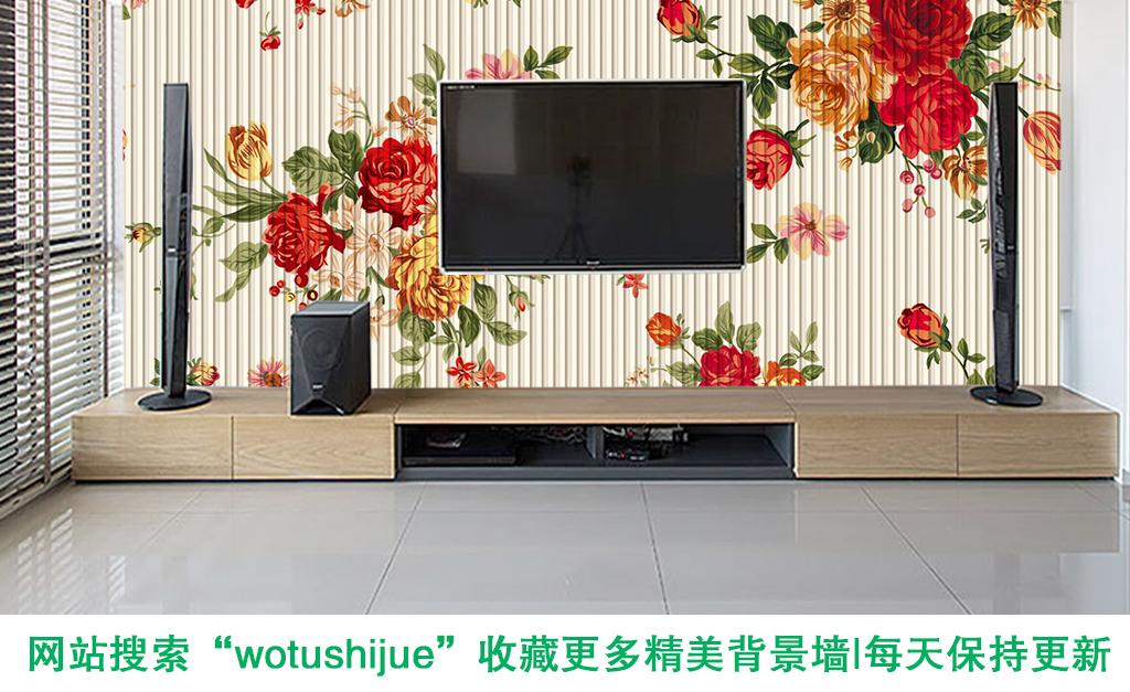 立体背景墙牡丹花电视背景墙花藤条纹背景墙木纹手绘花朵壁画牡丹花手