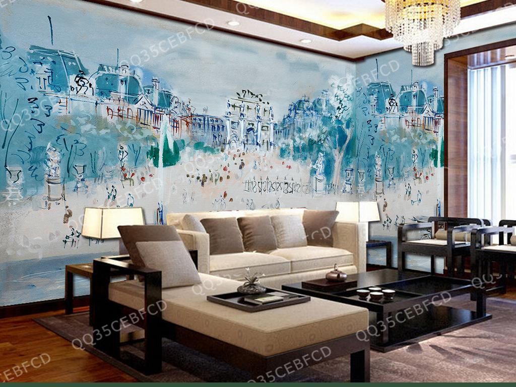 墙电视沙发背景3d立体立体油画欧式背景闹市城市商铺
