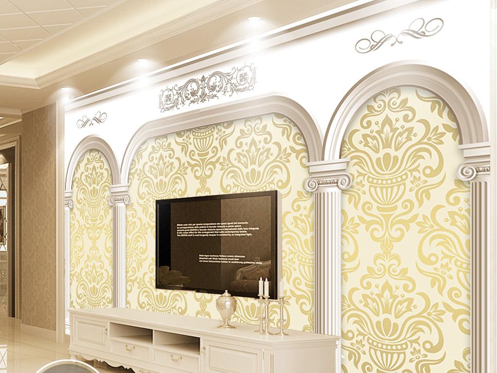 3d罗马柱门欧式花纹电视背景墙图片