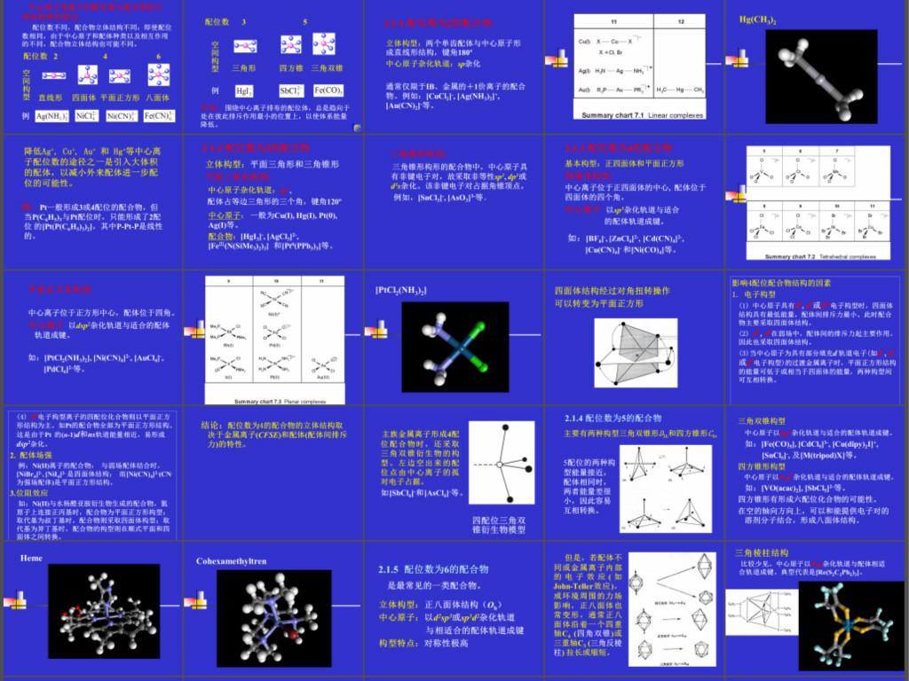 我图网提供精品流行配合物的立体结构课件素材下载,作品模板源文件可以编辑替换,设计作品简介: 配合物的立体结构课件,,使用软件为 PowerPoint 2010(.pptx) 化学课件之配合物的立体结构课件 大学课件 配合物的空间构型 三角棱柱结构