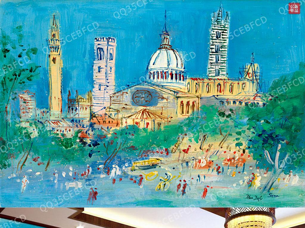 手绘风景街道油画欧美欧美油画人物欧美风景油画欧美