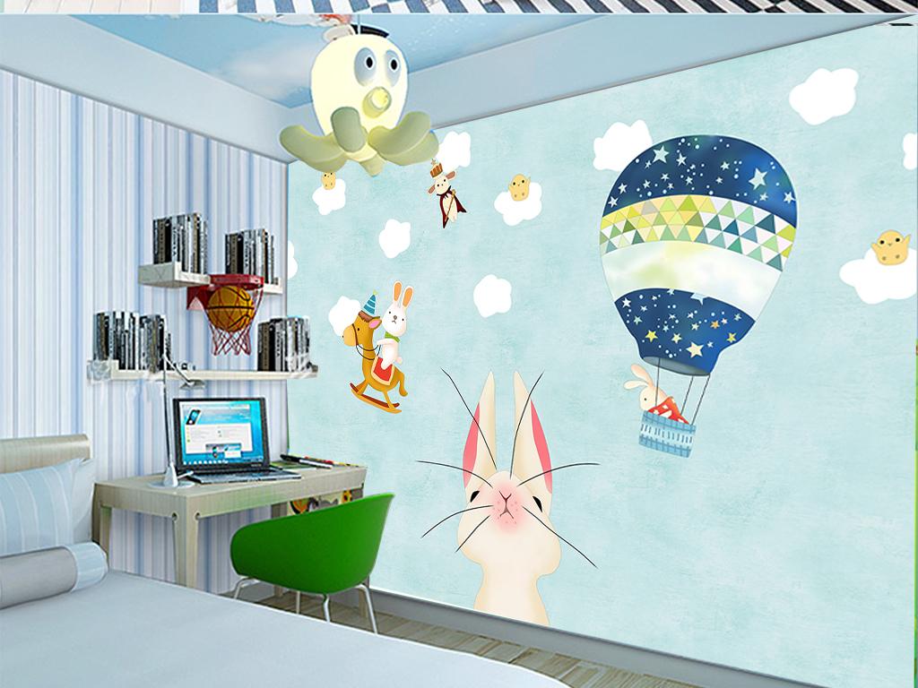手绘兔子儿童房卧室卡通动物背景墙