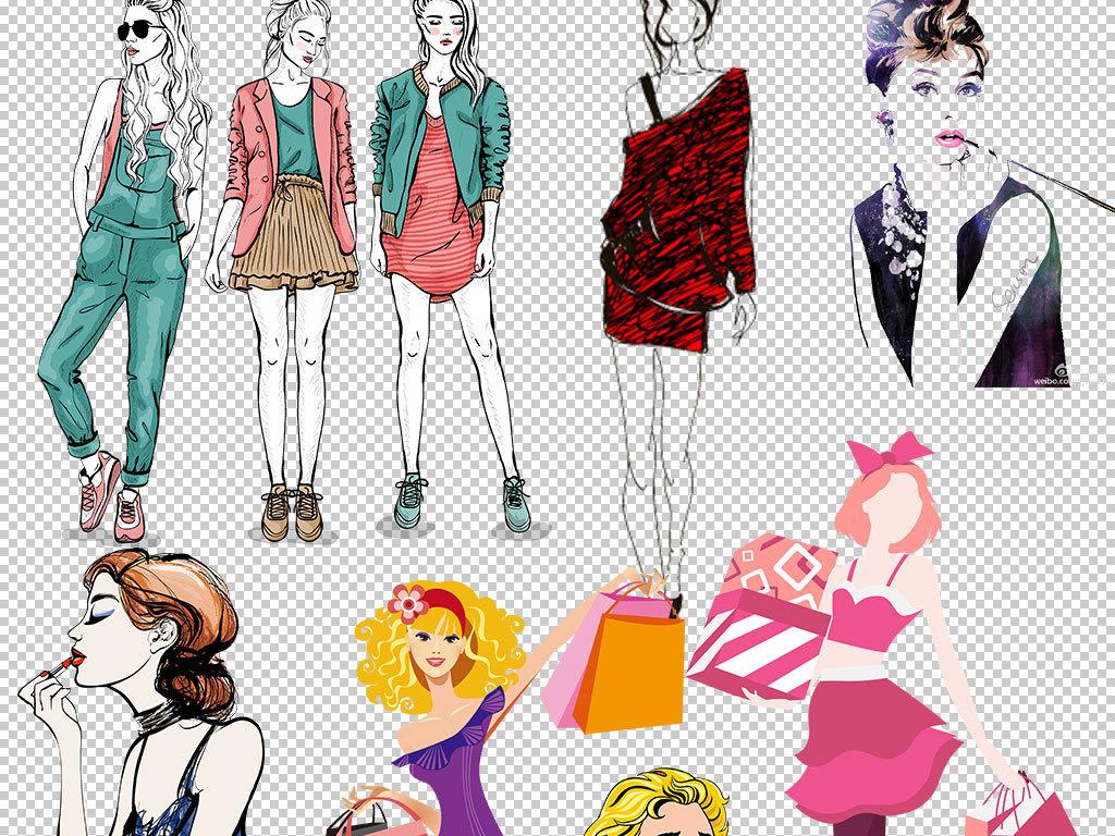 卡通手绘时尚美女png素材