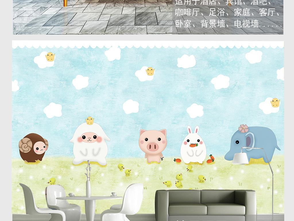 手绘卡通动物萌萌哒小羊宝宝背景墙