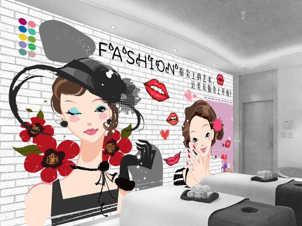 卡通可爱名片插画美甲发廊美甲背景店背景美容院背景美容美发美容美体