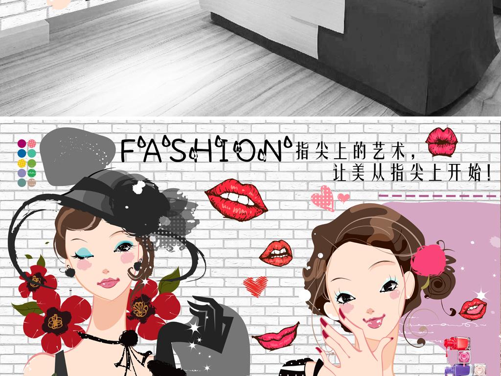 手绘卡通可爱名片插画美甲发廊美甲背景店背景美容院