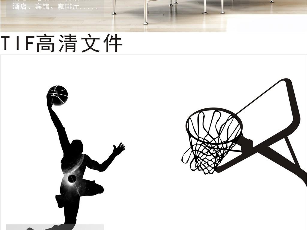 背景墙|装饰画 电视背景墙 手绘电视背景墙 > 篮球运动背景墙城市黑白