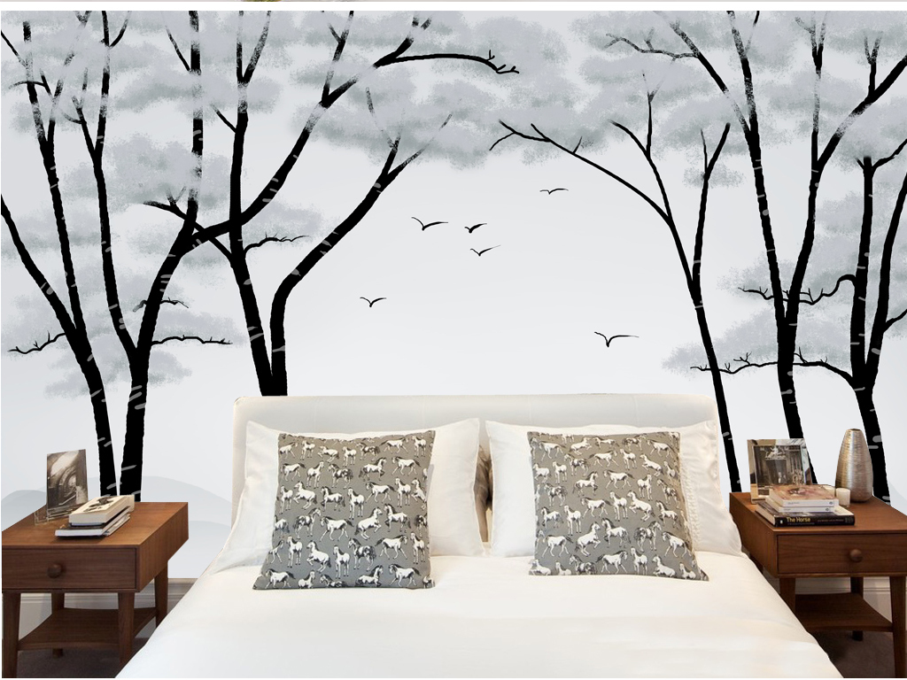 大气唯美森林树林沙发背景墙唯美下载黑白