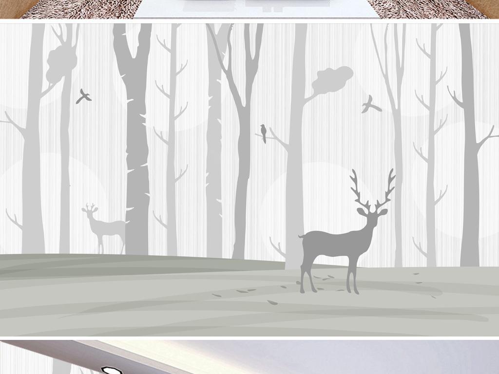 黑白简约北欧森林麋鹿背景墙装饰画下载