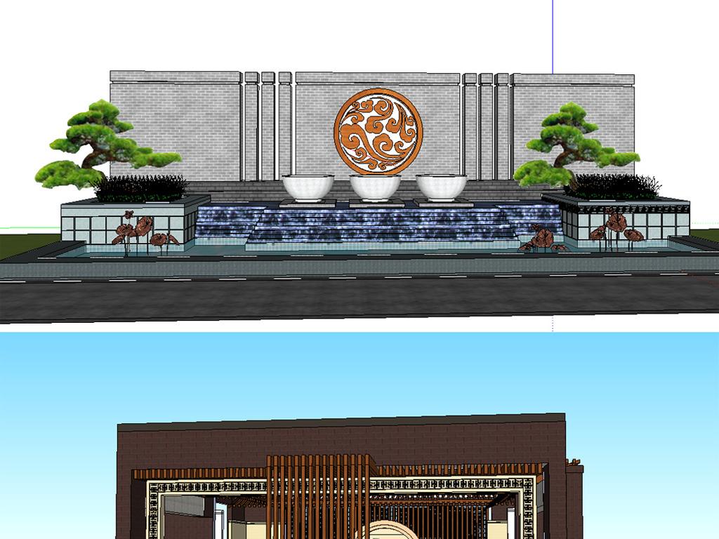 公园广场城市规划草图大师毕业设计作业skp模型sketchup中式景观小品图片