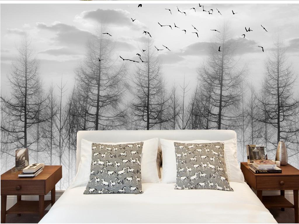 黑白森林意境唯美大气沙发背景墙电视背景墙