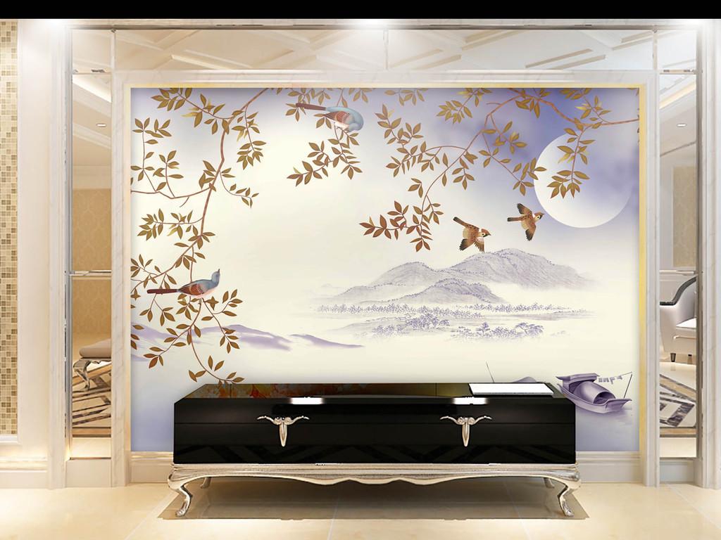 电视背景墙手绘花鸟花鸟图                                  山水