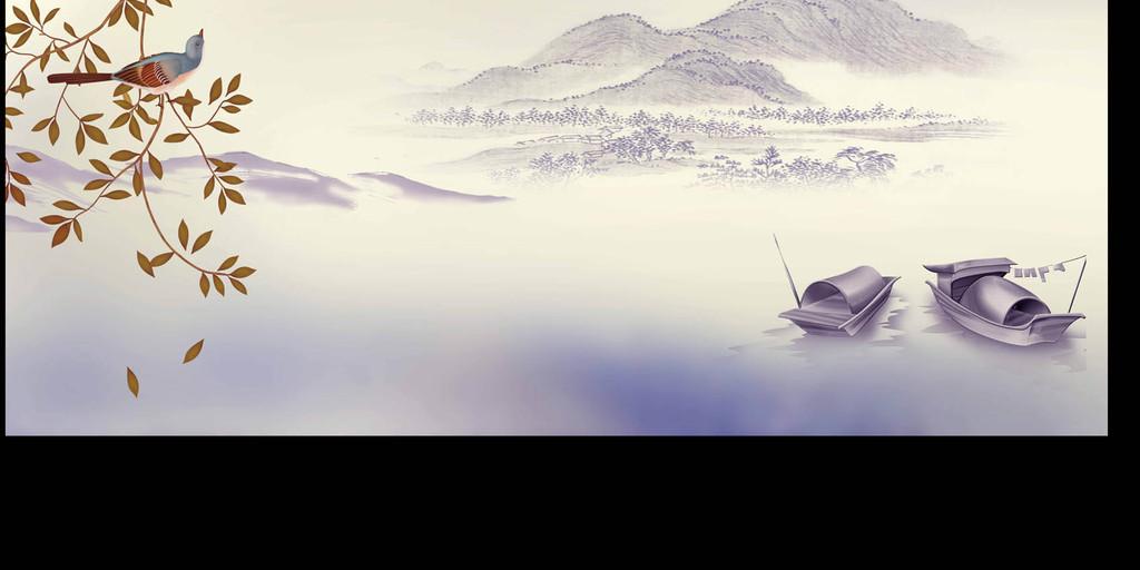 高清分层手绘复古花鸟背景墙