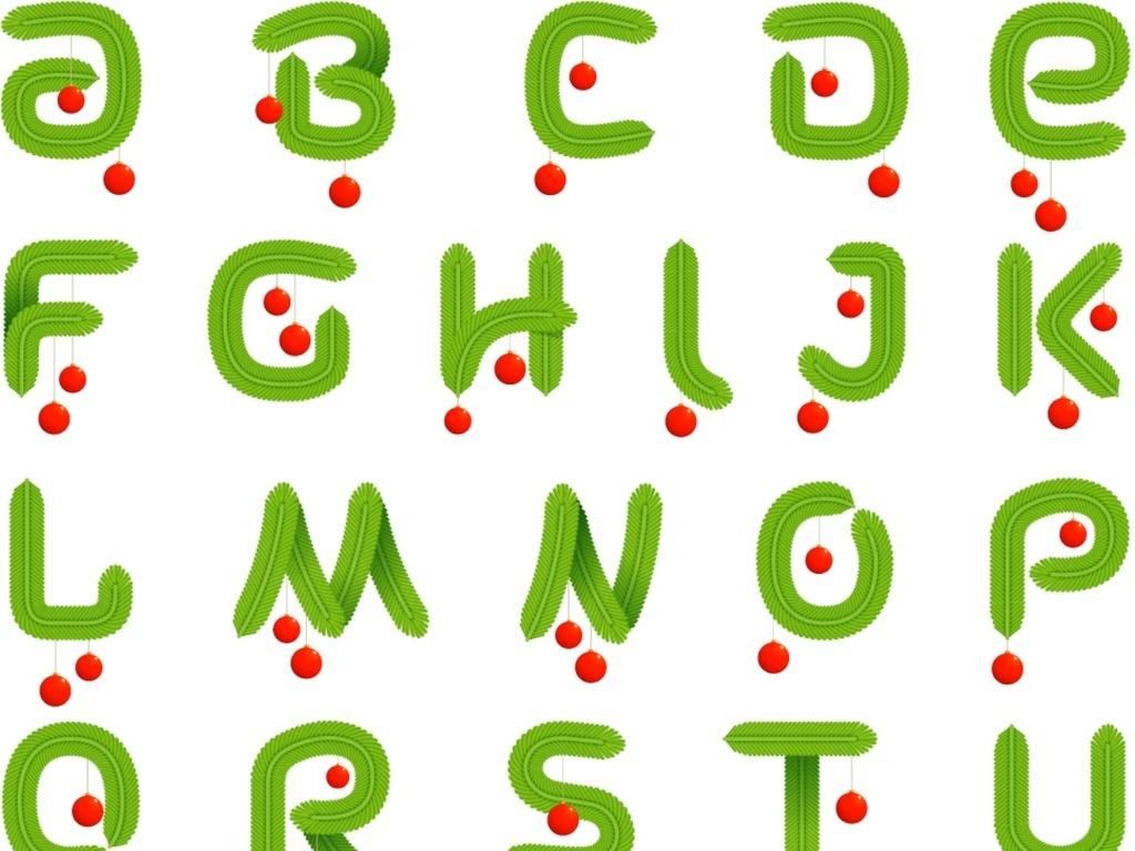 设计元素 字体效果 英文字体 > 绿色卡通手绘矢量英文字母艺术字