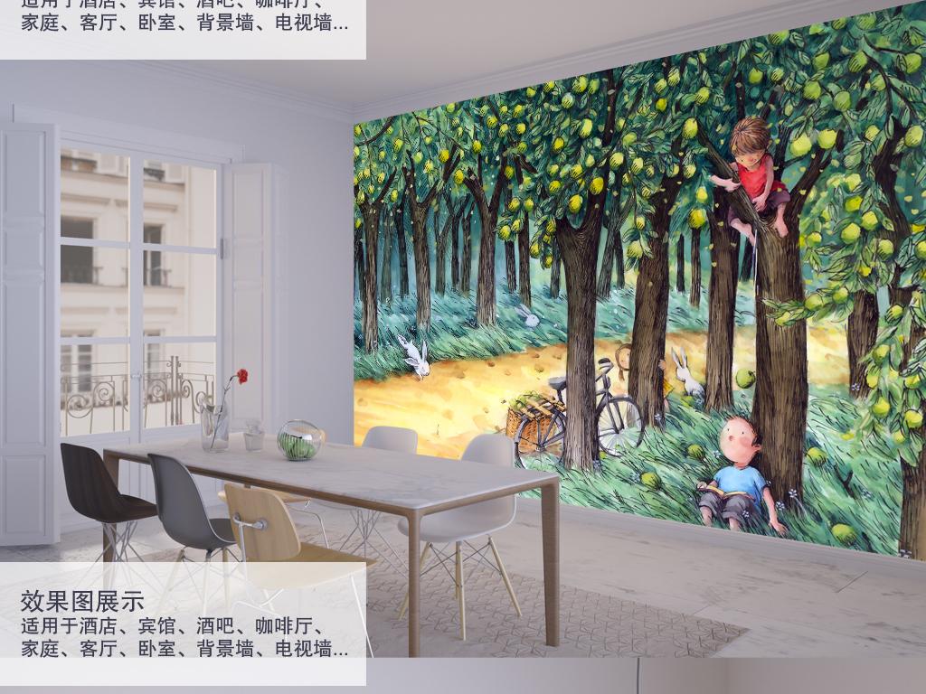背景墙|装饰画 电视背景墙 手绘电视背景墙 > 清新卡通童年果园背景墙