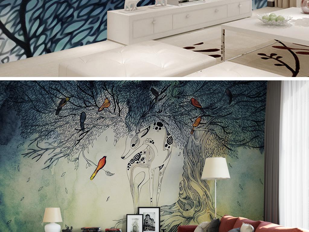 天亿网 森林麋鹿少女手绘 > psd)北欧森林麋鹿   psd)北欧森林麋鹿