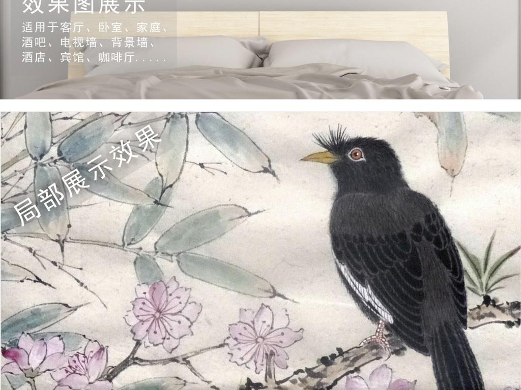 梅竹花鸟工笔画中国风挂画