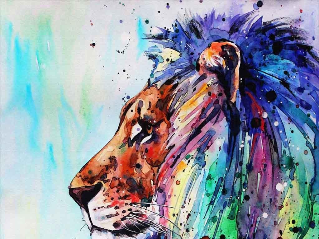 动物泼墨梦幻玄关油画手绘水彩画酒店画水彩手绘背景创意狮子创意背景