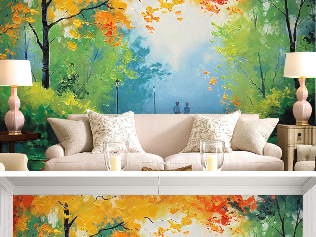 小清新手绘油画枫叶森林草木花草叶子绿叶唯美小道自然树林手绘背景