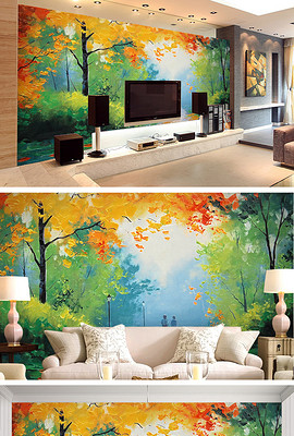 厅电视背景墙 墙绘 卧室壁纸 枫树林