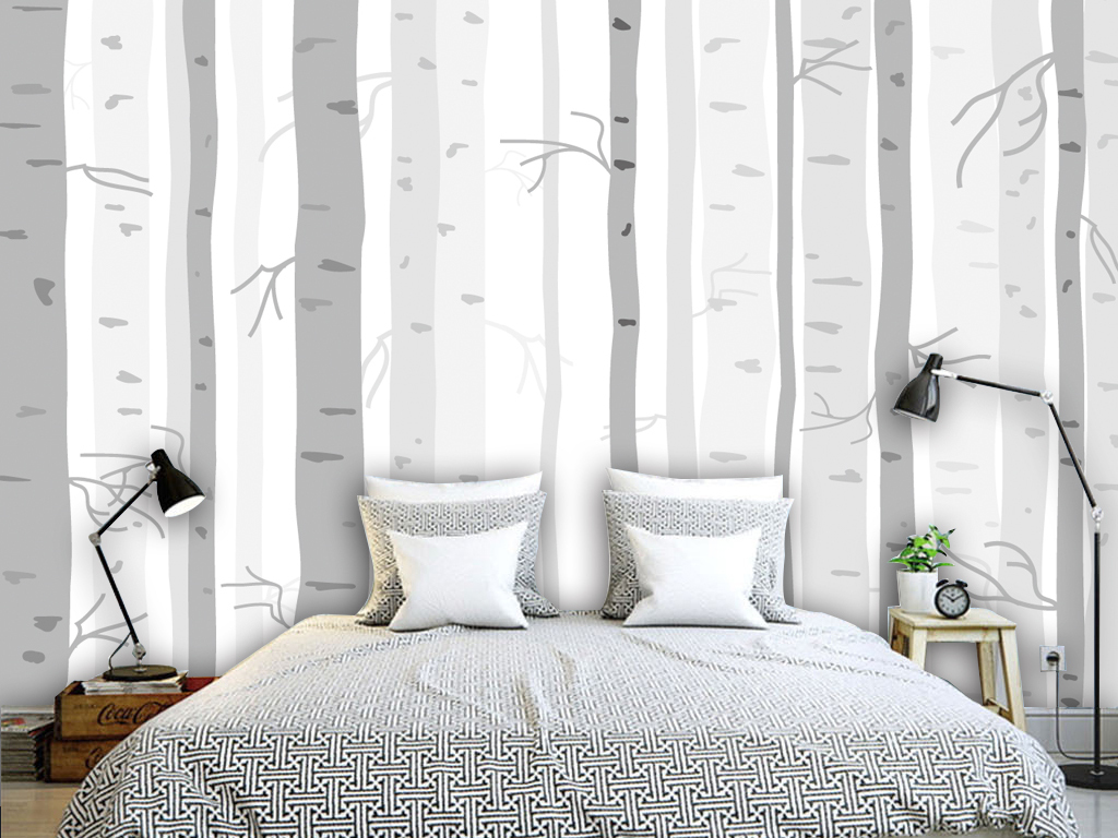 现代简约树木树林树干背景墙壁纸墙纸
