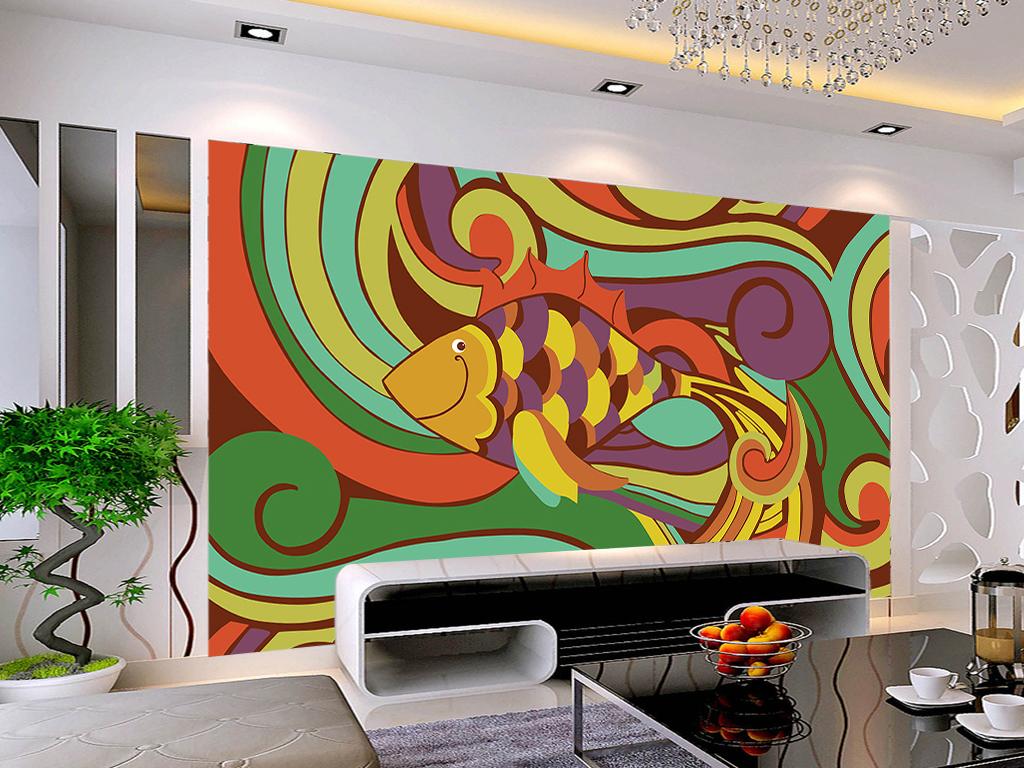 手绘艺术鱼电视背景墙装饰画