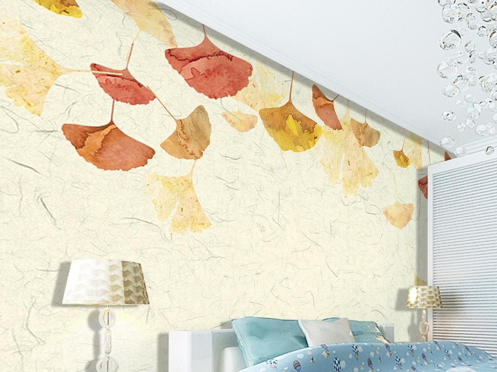 简约复古银杏叶手绘背景墙