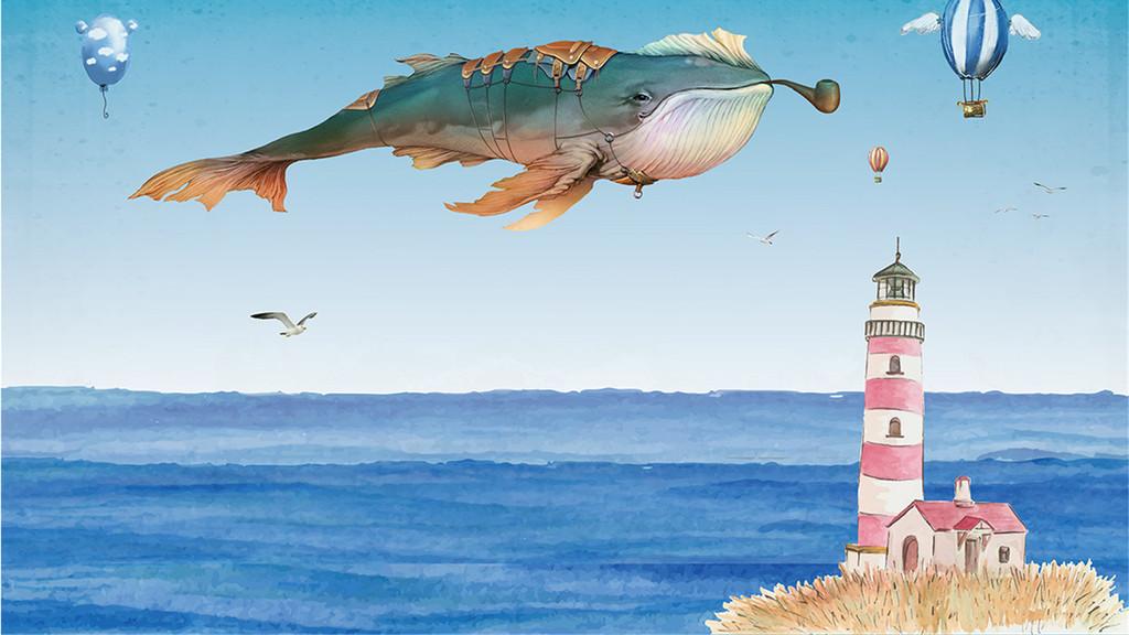 手绘鲸鱼灯塔背景