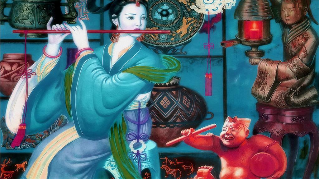 手绘美女吹笛美女中式窗花中式婚礼中式背景墙中式