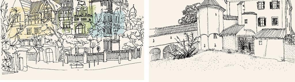 梦幻手绘背景唯美背景手绘建筑建筑背景唯美手绘德国背景德国建筑唯美
