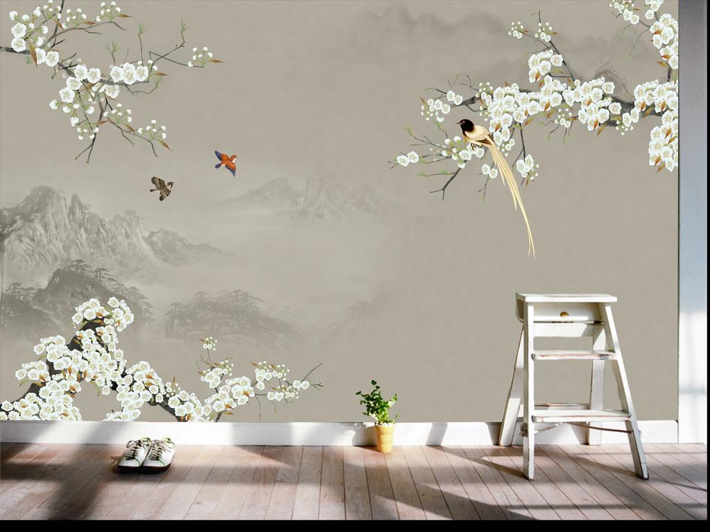 手绘新中式工笔花鸟背景墙装饰画